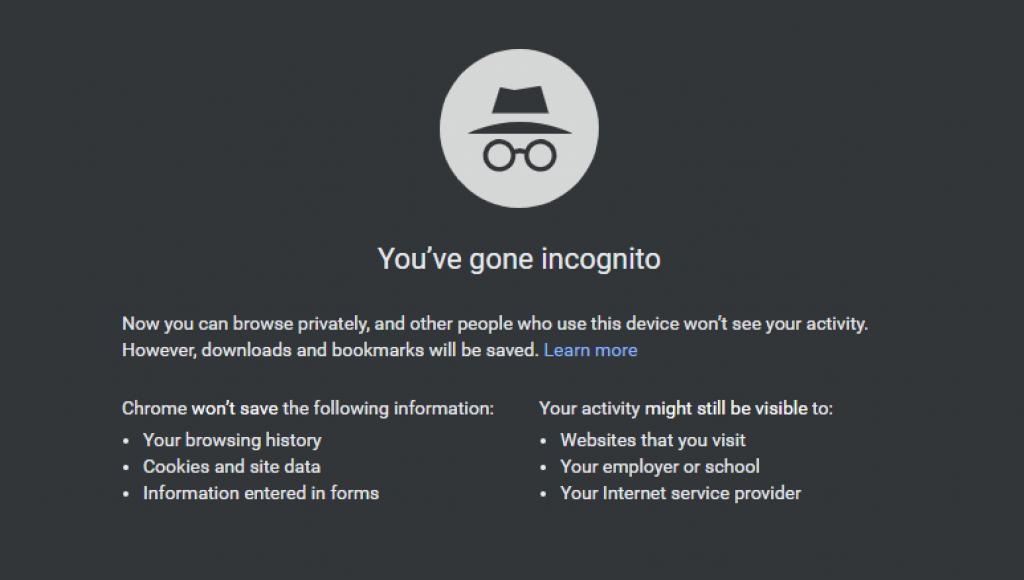 incognito mode hide IP address
